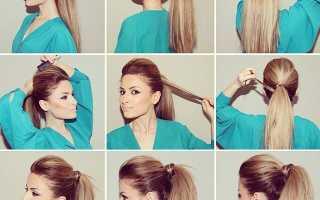 Красивый конский хвост на средние волосы
