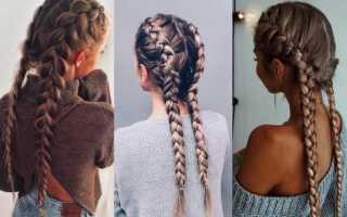 Две косички на средние волосы