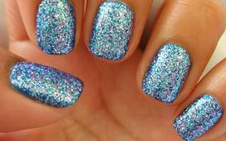 Блестки на ногтях гель лаком