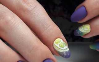 Маникюр с фиолетовым цветом на коротких ногтей