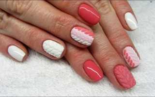 Вязаный дизайн на ногтях