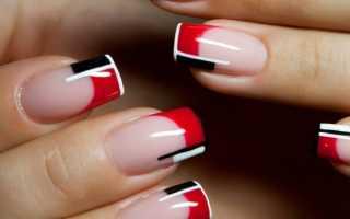 Бордовый френч на ногтях