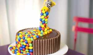 Украшение торта конфетами и шоколадками и печеньем