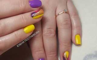Маникюр фиолетовый с желтым