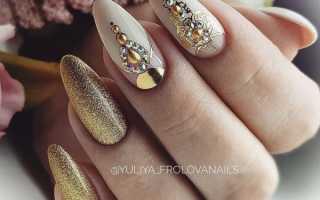 Черно золотой маникюр на длинные ногти