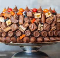 Детский торт украшенный сладостями