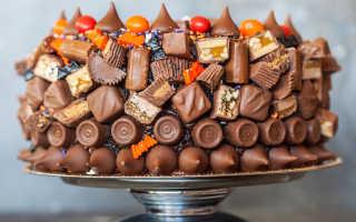 Торты украшенные конфетами и шоколадом
